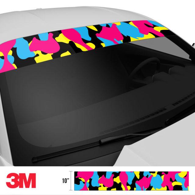 Jdm Premium Windshield Strip Banner Camo Neon Party Side 2