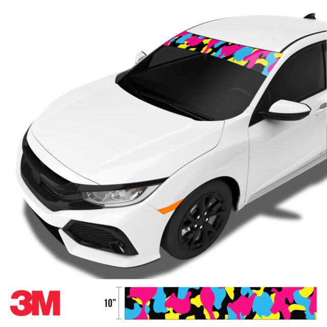 Jdm Premium Windshield Strip Banner Camo Neon Party Side