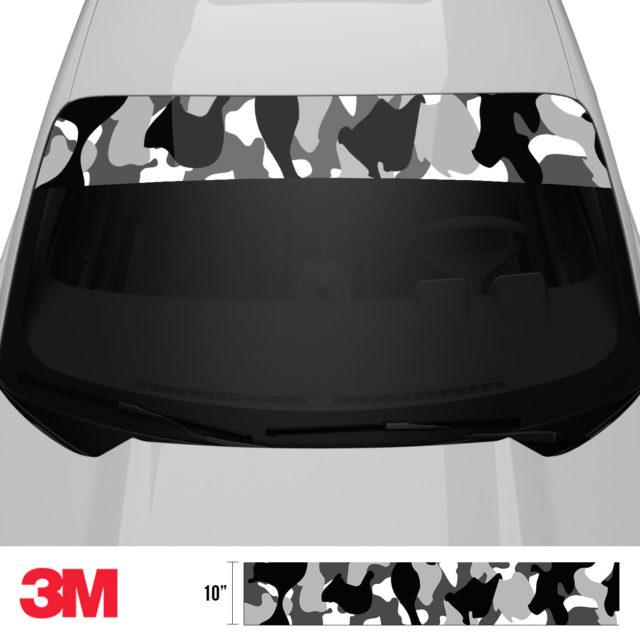Jdm Premium Windshield Strip Banner Camo Snow Black Front 2