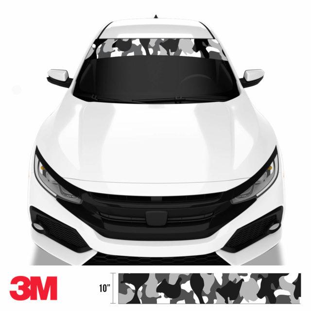 Jdm Premium Windshield Strip Banner Camo Snow Black Front