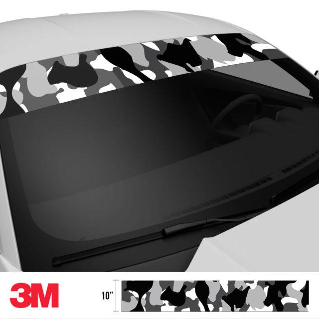 Jdm Premium Windshield Strip Banner Camo Snow Black Side 2