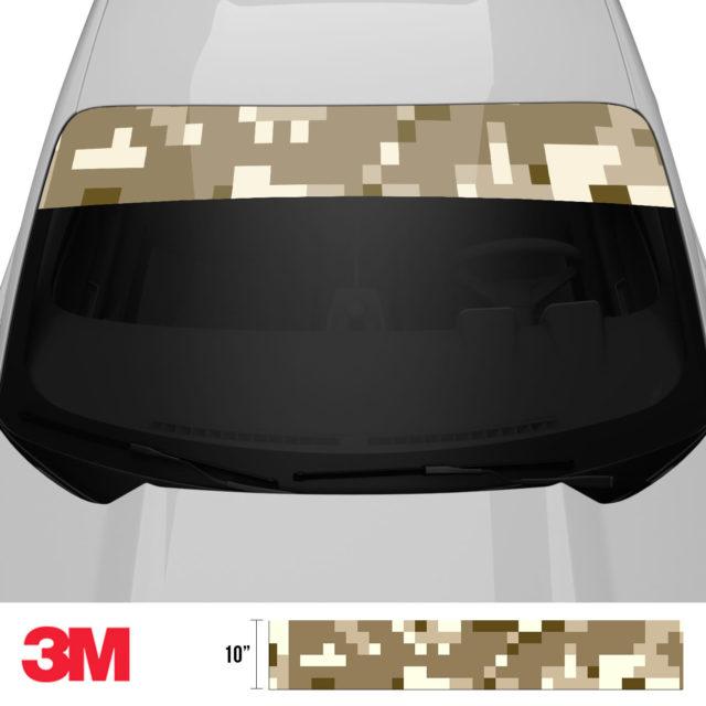 Jdm Premium Windshield Strip Banner Digital Camo Desert Front 2