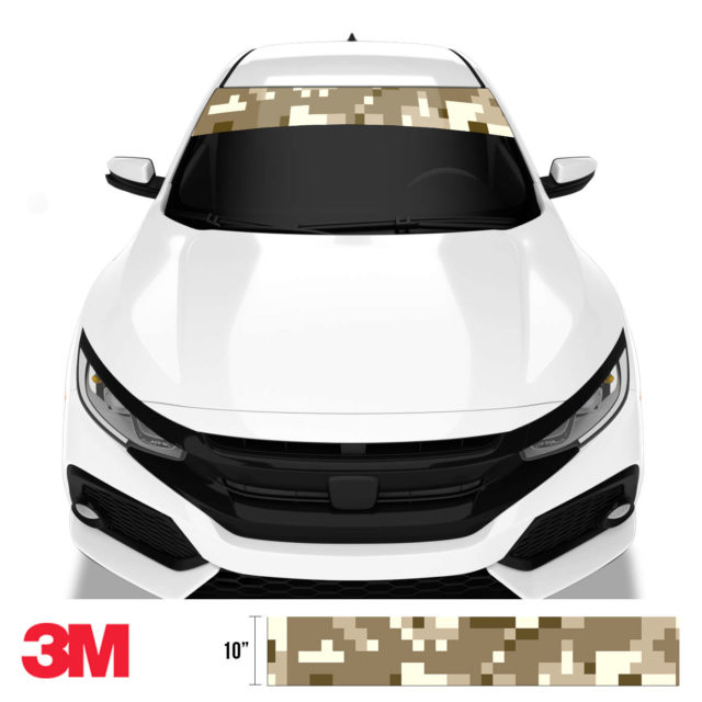 Jdm Premium Windshield Strip Banner Digital Camo Desert Front