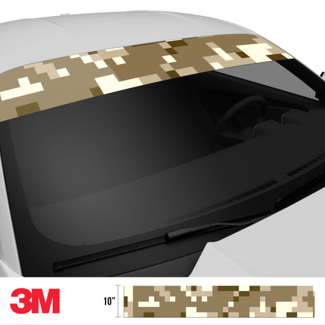 Jdm Premium Windshield Strip Banner Digital Camo Desert Side 2