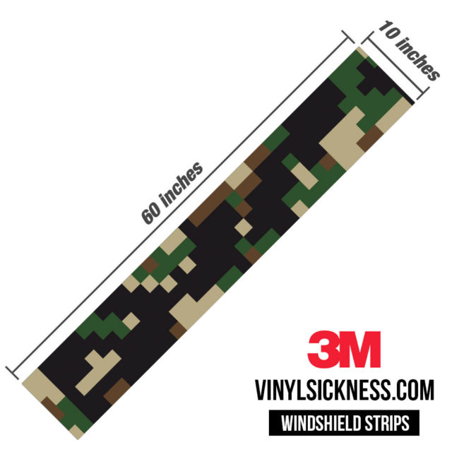 Jdm Premium Windshield Strip Banner Digital Camo Military Dimensions