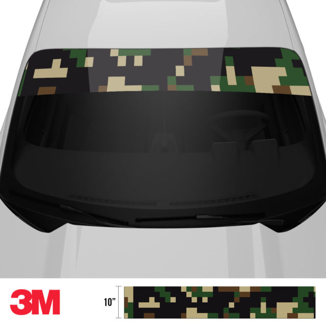Jdm Premium Windshield Strip Banner Digital Camo Military Front 2