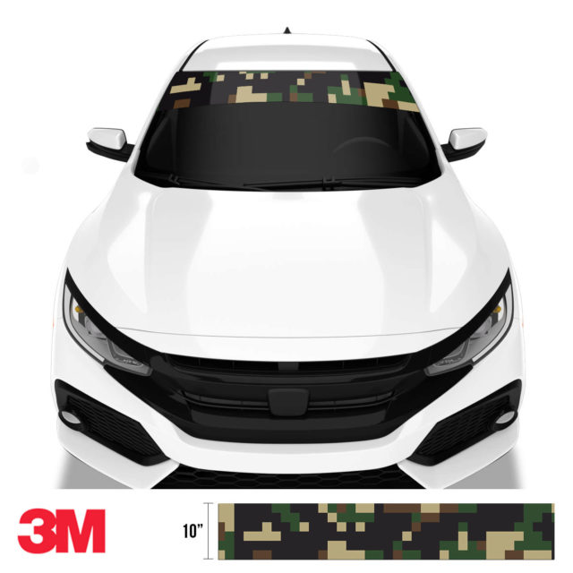 Jdm Premium Windshield Strip Banner Digital Camo Military Front