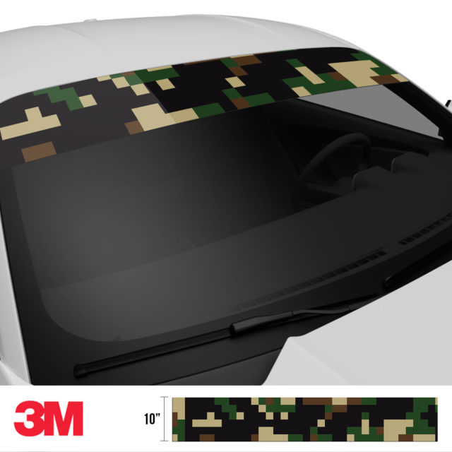 Jdm Premium Windshield Strip Banner Digital Camo Military Side 2