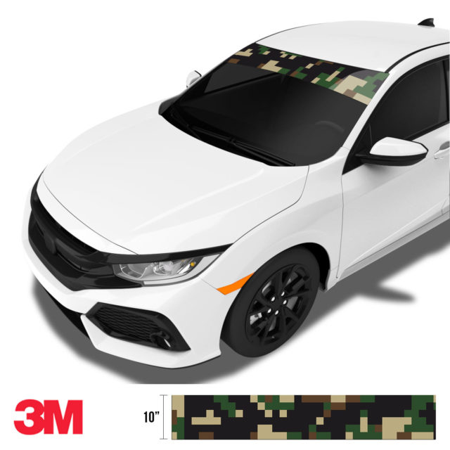 Jdm Premium Windshield Strip Banner Digital Camo Military Side