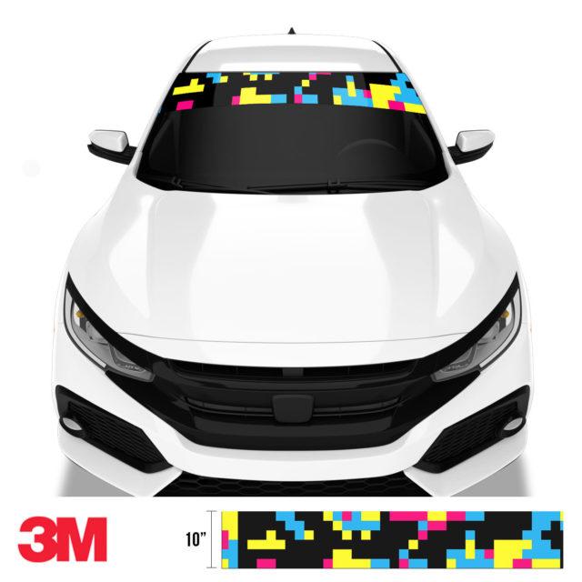 Jdm Premium Windshield Strip Banner Digital Camo Neon Party Front