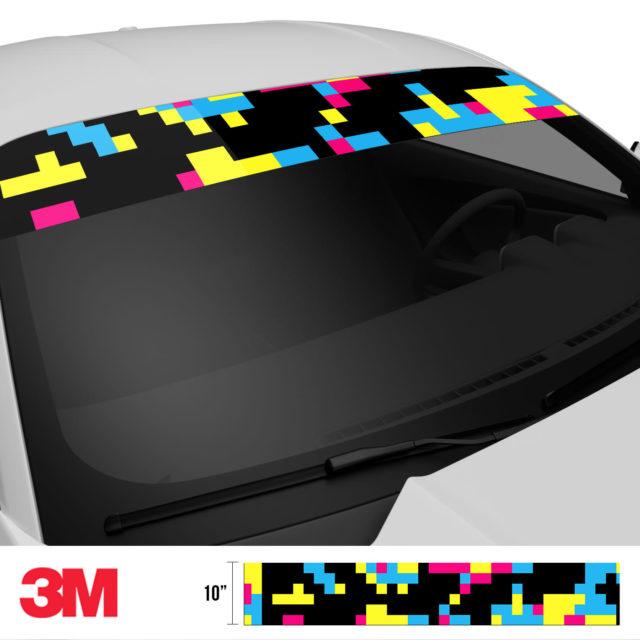 Jdm Premium Windshield Strip Banner Digital Camo Neon Party Side 2