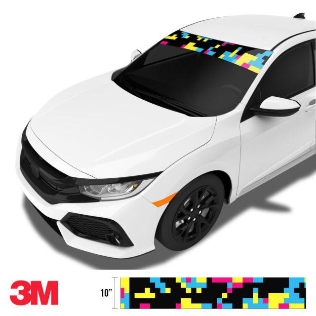 Jdm Premium Windshield Strip Banner Digital Camo Neon Party Side