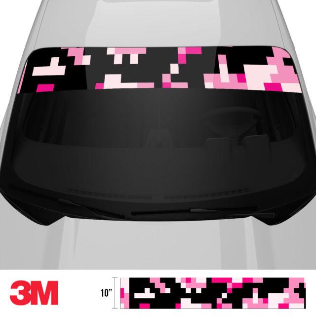 Jdm Premium Windshield Strip Banner Digital Camo Pink Front 2
