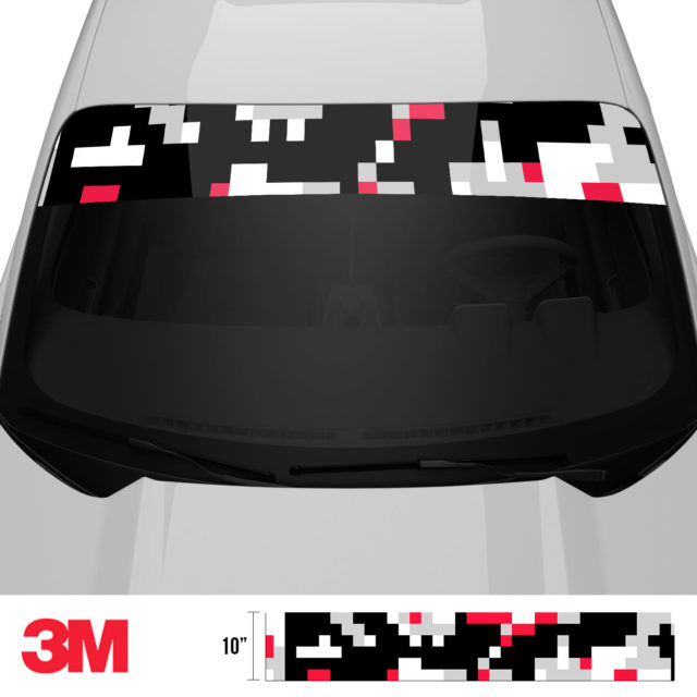 Jdm Premium Windshield Strip Banner Digital Camo Red Black Front 2