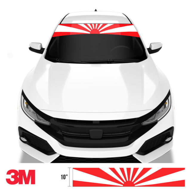Jdm Premium Windshield Strip Banner Rising Sun Front