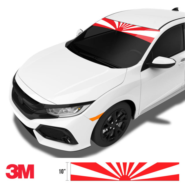 Jdm Premium Windshield Strip Banner Rising Sun Side