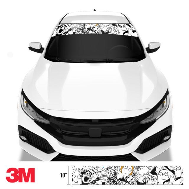 Jdm Premium Windshield Strip Banner Sticker Bomb Meme Front
