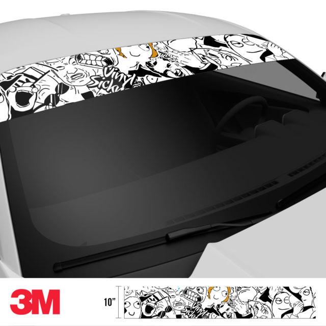 Jdm Premium Windshield Strip Banner Sticker Bomb Meme Side 2
