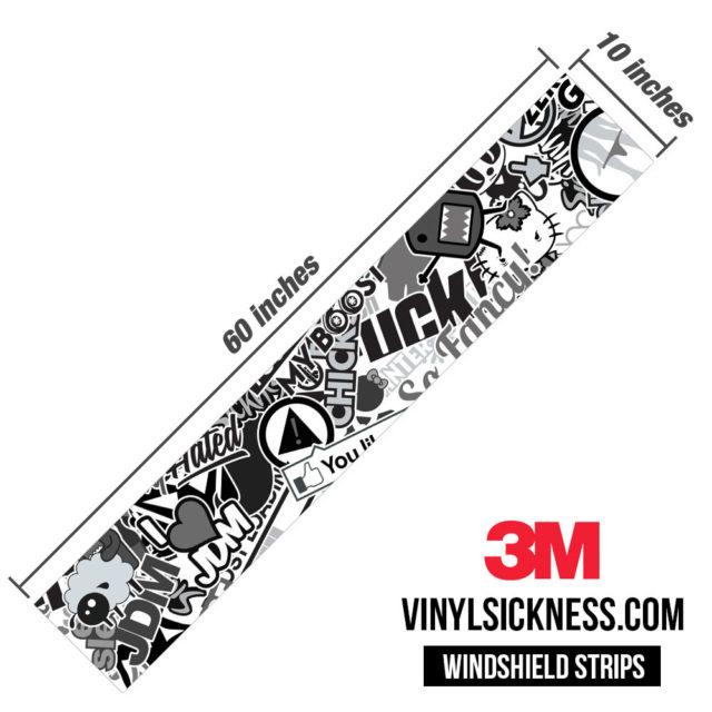 Jdm Premium Windshield Strip Banner Sticker Bomb Vs Bw Dimensions