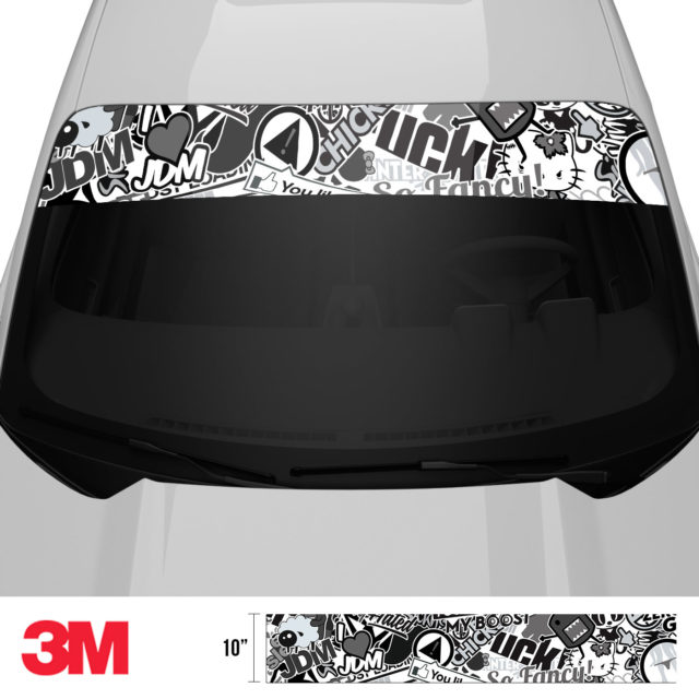 Jdm Premium Windshield Strip Banner Sticker Bomb Vs Bw Front 2