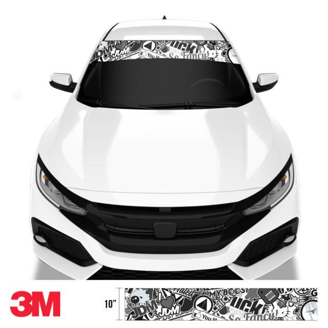 Jdm Premium Windshield Strip Banner Sticker Bomb Vs Bw Front