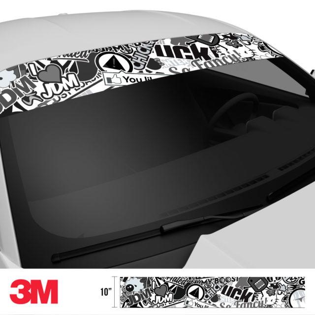 Jdm Premium Windshield Strip Banner Sticker Bomb Vs Bw Side 2