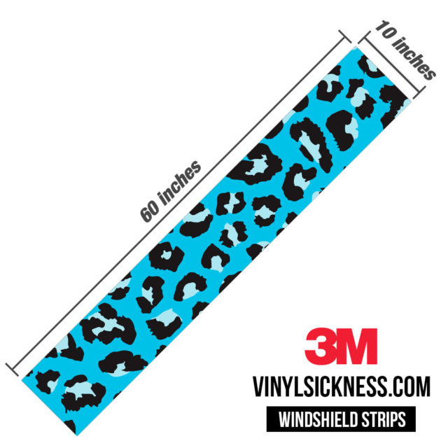 Jdm Tuner Leopard Skin Aqua Windshield Sun Strip Dimension