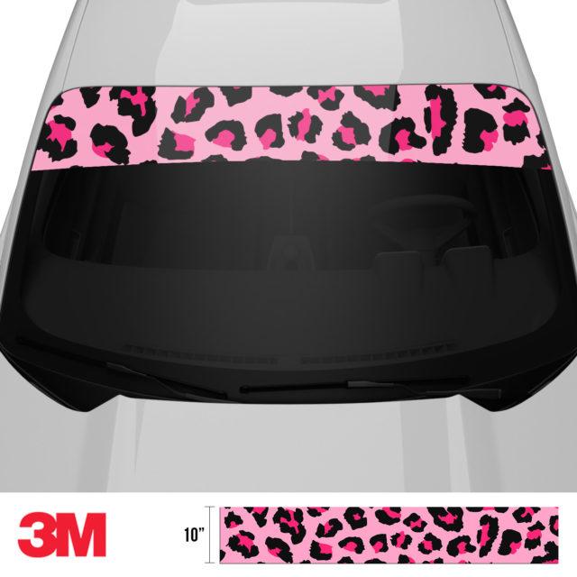 Jdm Tuner Leopard Skin Pink Windshield Sun Strip Front 2