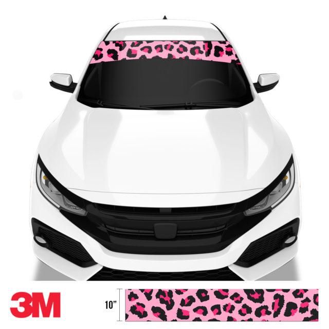 Jdm Tuner Leopard Skin Pink Windshield Sun Strip Front