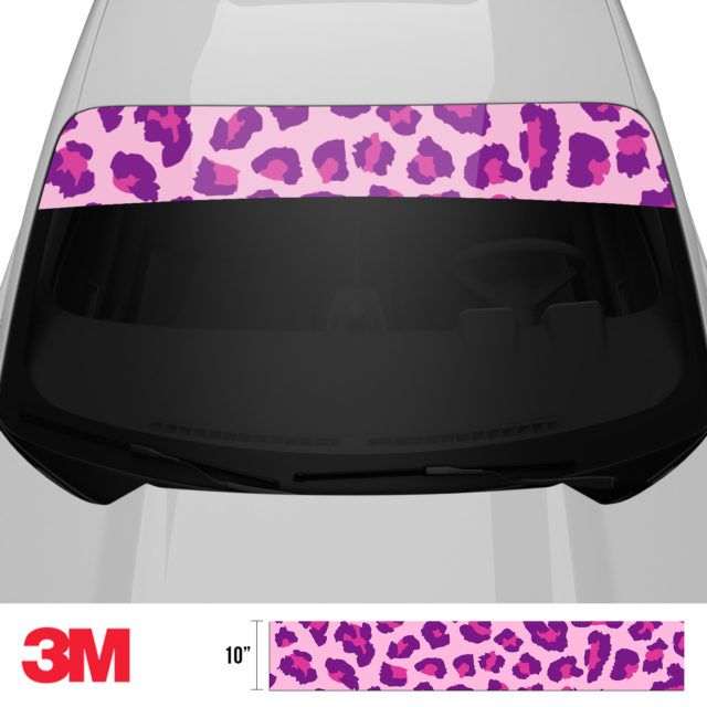 Jdm Tuner Leopard Skin Purple Candy Windshield Sun Strip Front 2
