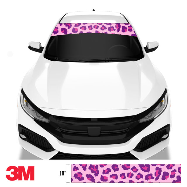 Jdm Tuner Leopard Skin Purple Candy Windshield Sun Strip Front