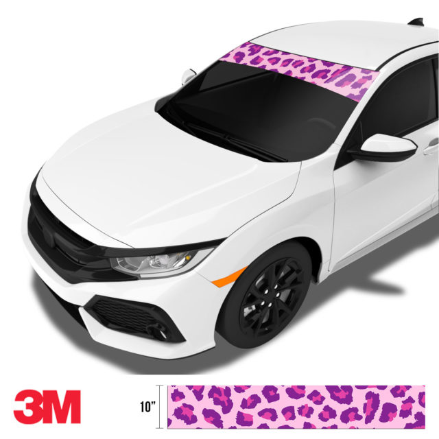 Jdm Tuner Leopard Skin Purple Candy Windshield Sun Strip Side