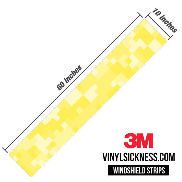 Laguna Yellow Digital Camo Windshield Sun Strip Dimension