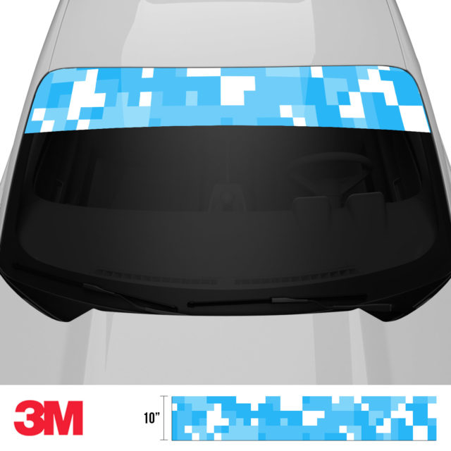 Light Blue Digital Camo Windshield Sun Strip Front 2