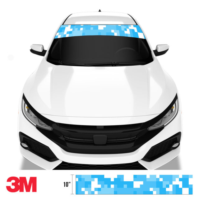Light Blue Digital Camo Windshield Sun Strip Front