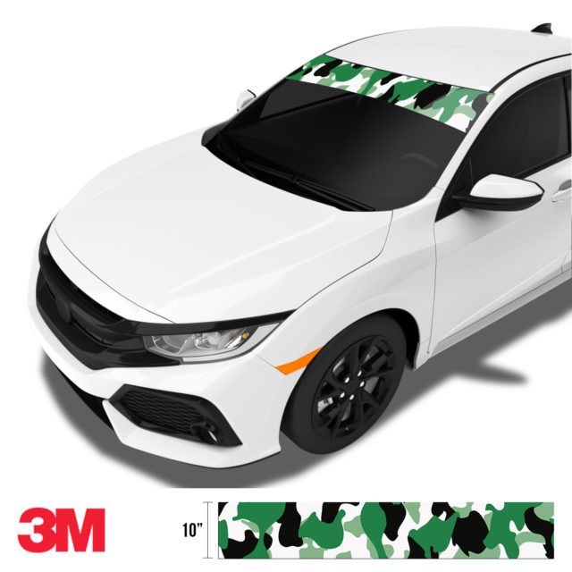 Light Jungle Green Camo Windshield Sun Strip Side