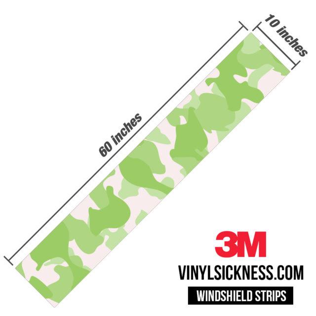 Lime Shade Camo Windshield Sun Strip Dimension