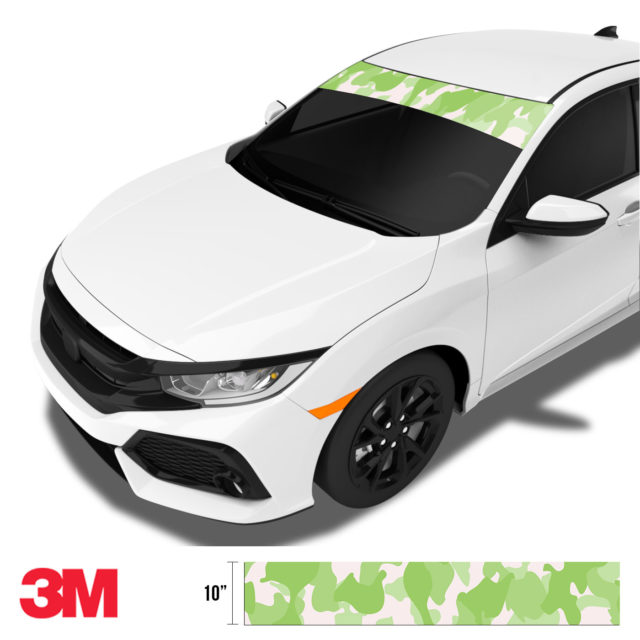 Lime Shade Camo Windshield Sun Strip Side