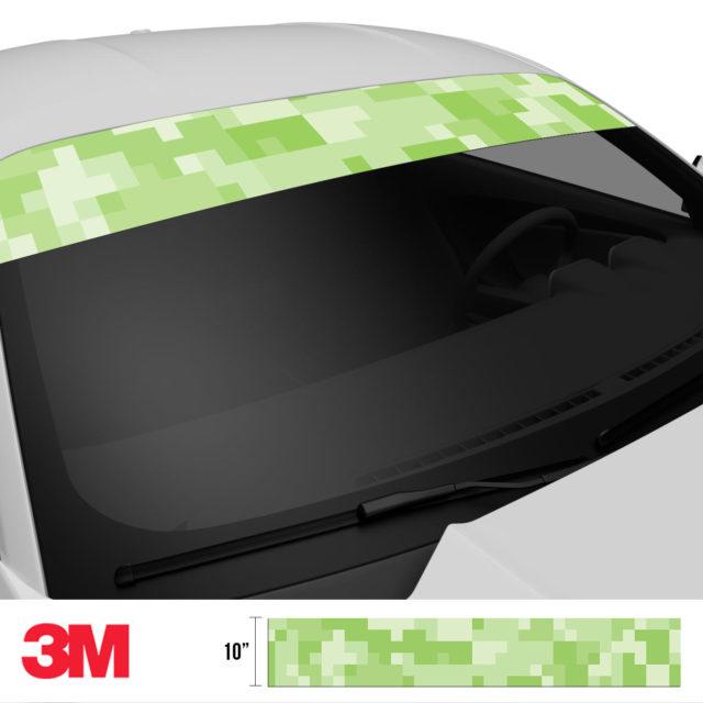 Lime Shade Digital Camo Windshield Sun Strip Side 2