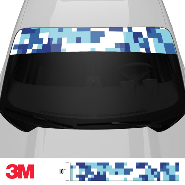 Medium Cadet Blue Digital Camo Windshield Sun Strip Front 2