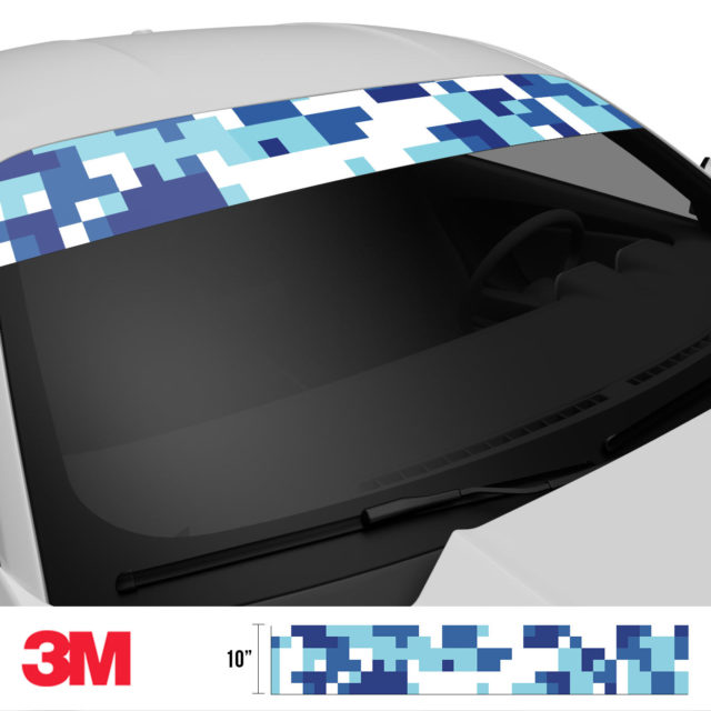 Medium Cadet Blue Digital Camo Windshield Sun Strip Side 2