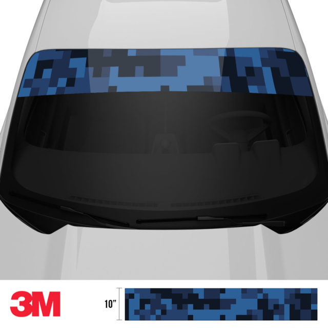 Midnight Blue Sapphire Digital Camo Windshield Sun Strip Front 2