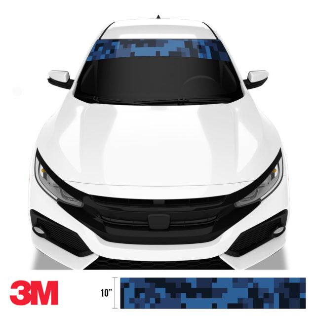 Midnight Blue Sapphire Digital Camo Windshield Sun Strip Front