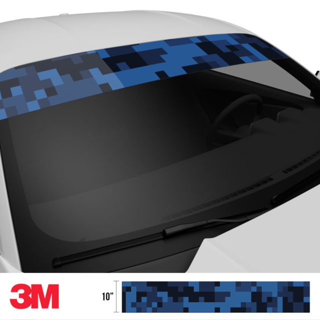 Midnight Blue Sapphire Digital Camo Windshield Sun Strip Side 2
