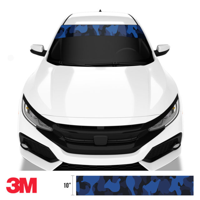 Midnight Blue Sapphire Windshield Sun Strip Front