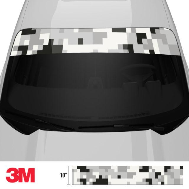 Mist Silver Digital Camo Windshield Sun Strip Front 2