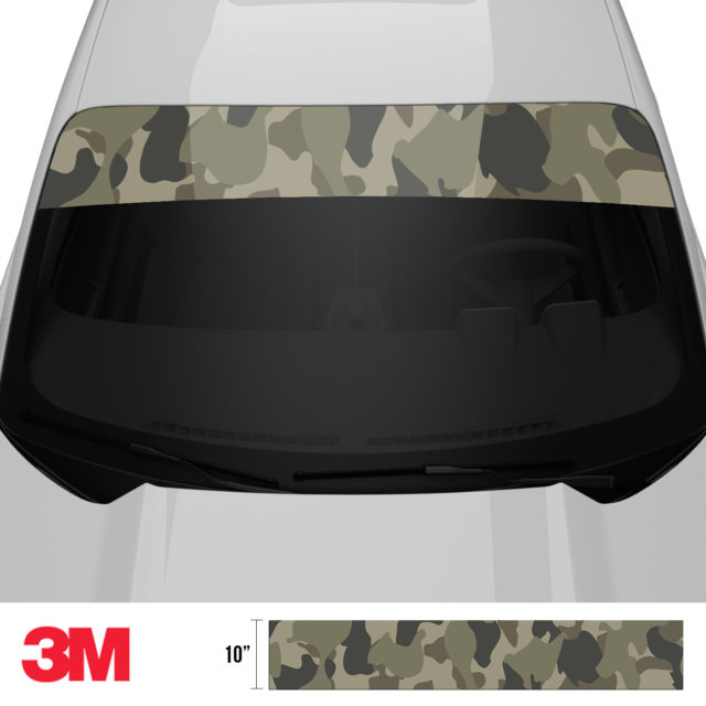 Moss Stone Camo Windshield Sun Strip Front 2