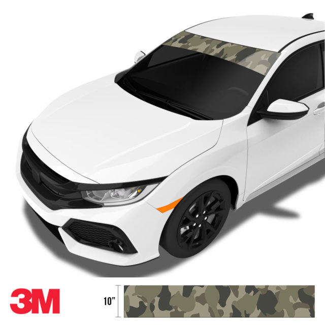 Moss Stone Camo Windshield Sun Strip Side