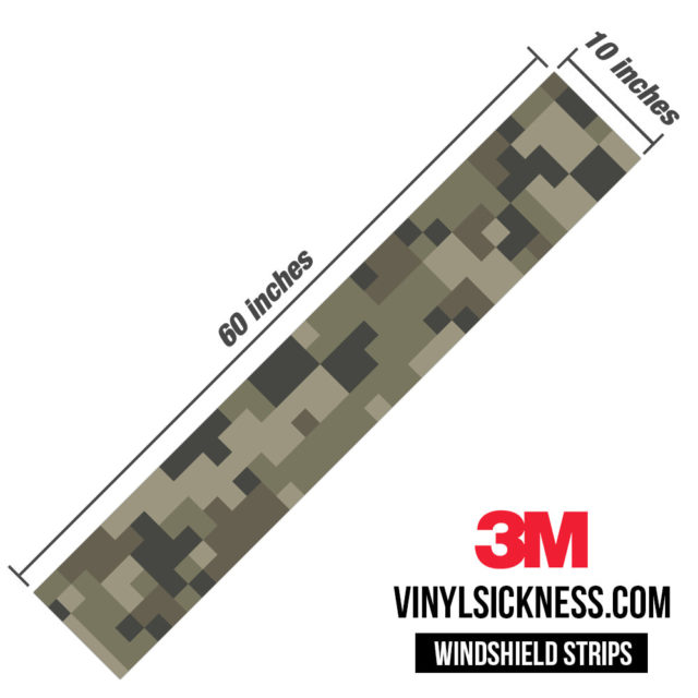 Moss Stone Digital Camo Windshield Sun Strip Dimension