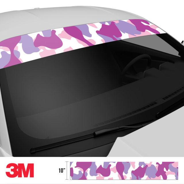 Mulberry Pink Camo Windshield Sun Strip Side 2